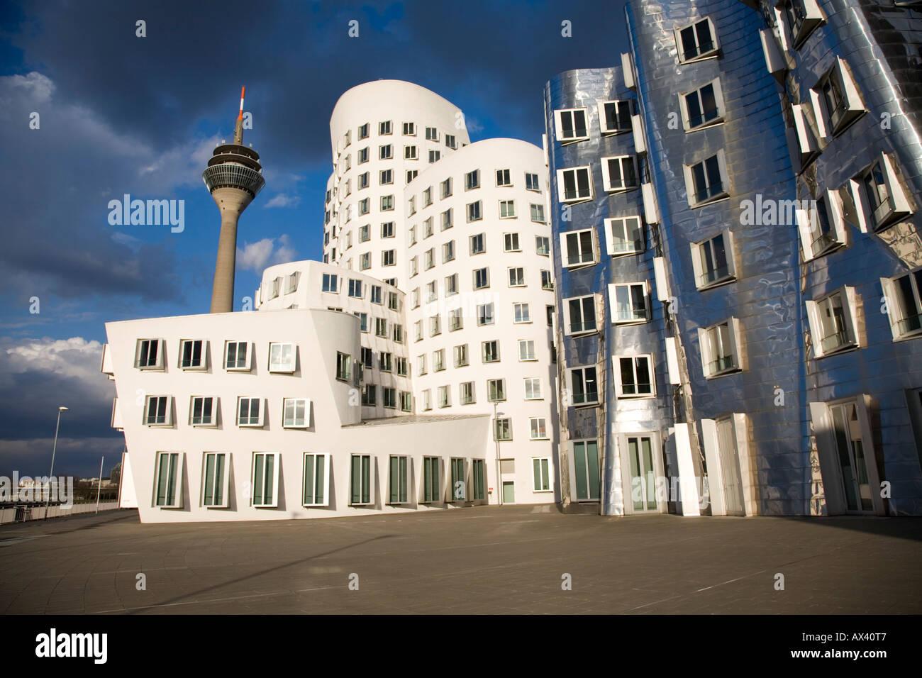 Neuer Zollhof by Frank Gehry, Dusseldorf, Germany - Stock Image