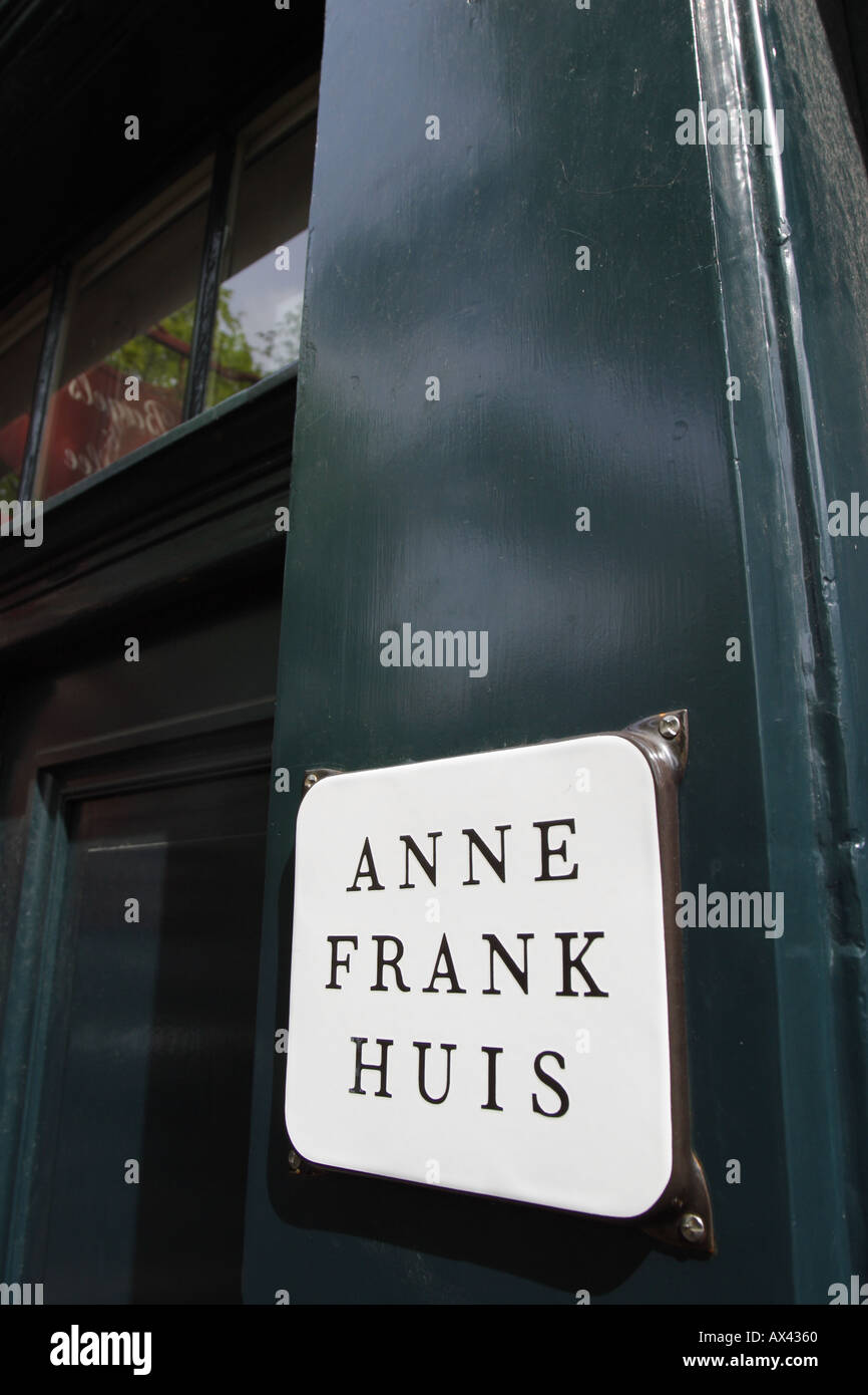 Anne Frank House Amsterdam Holland Netherlands showing the entrance to the Anne Frank House at 263 Prinsengracht - Stock Image