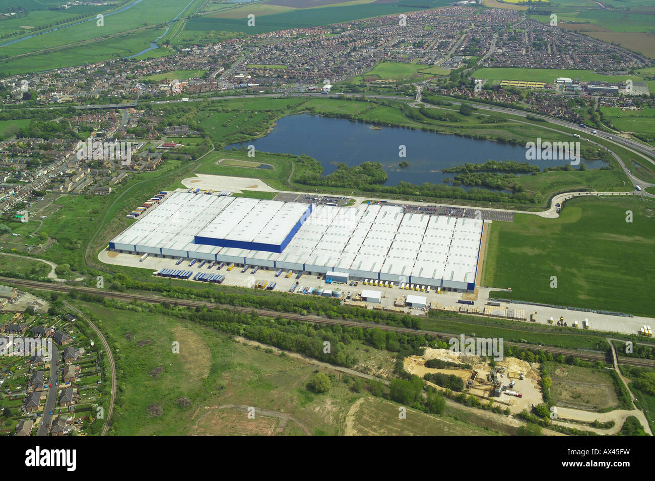 Aerial view of an out of town warehouse and distribution centre near Peterborough in Cambridgeshire Stock Photo
