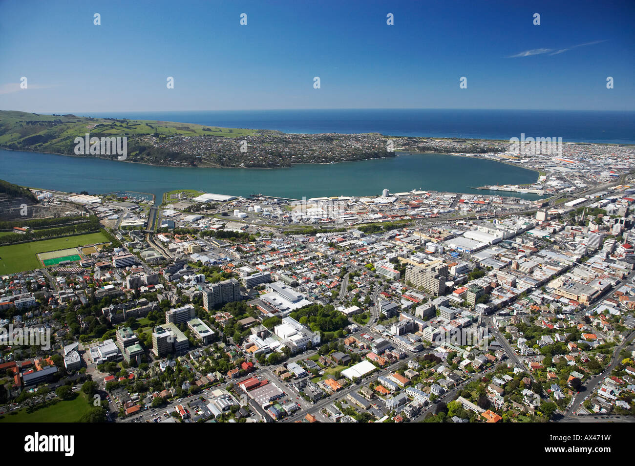 Universiity of Otago Campus and Otago Harbour Dunedin South Island New Zealand aerial - Stock Image