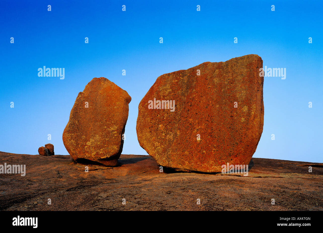 Dome with Rockformation at sunset Enchanted Rock State Natural Area Fredericksburg Texas USA - Stock Image