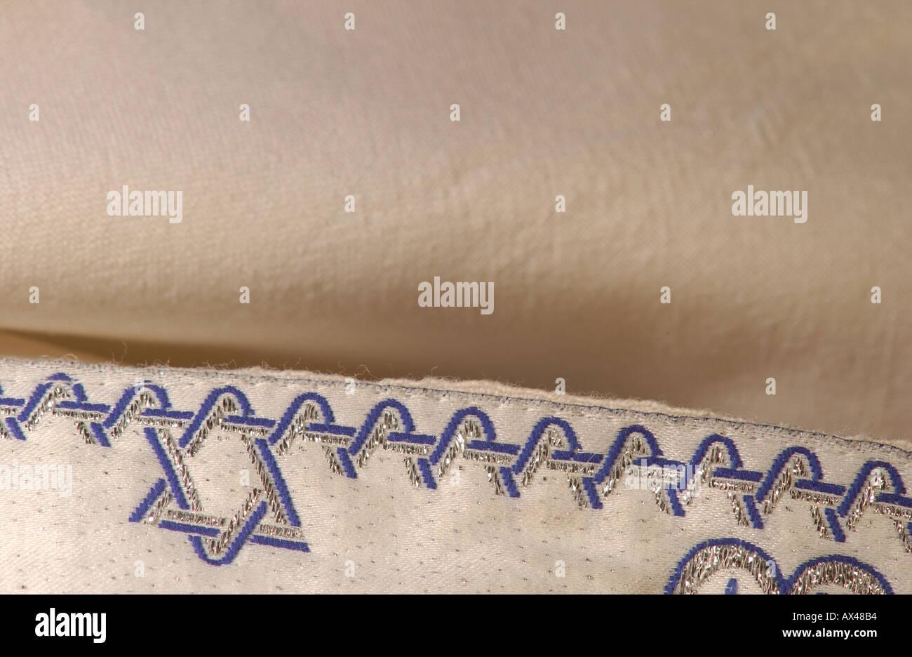 Judaica Symbols Prayer Shawl - Stock Image
