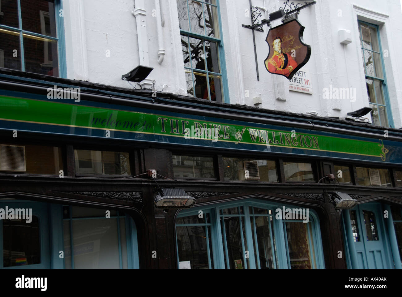 Duke of Wellington pub in Wardour Street Soho London - Stock Image