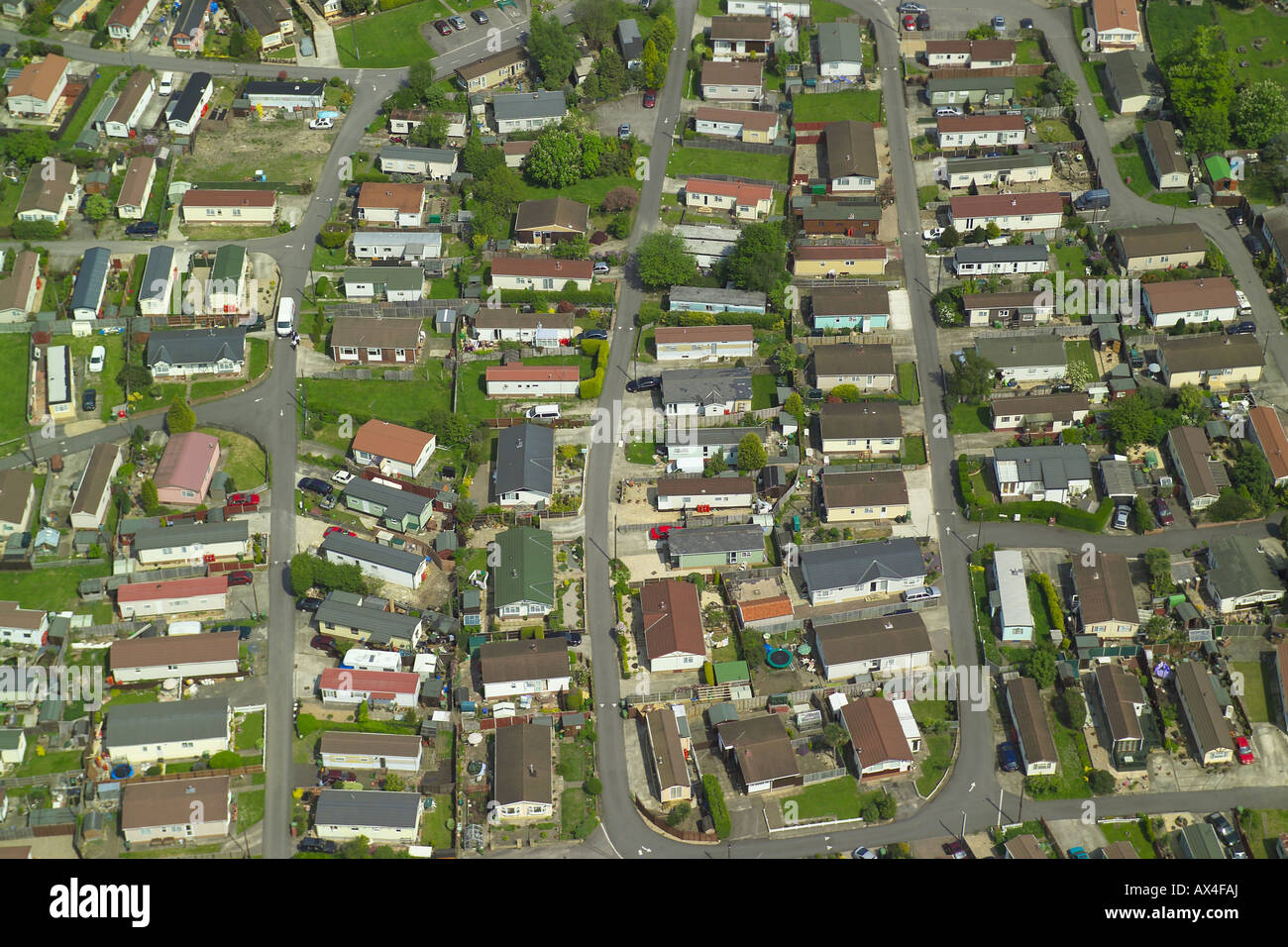 Aerial view of a mobile home park, also known as a caravan park or a trailer park Stock Photo