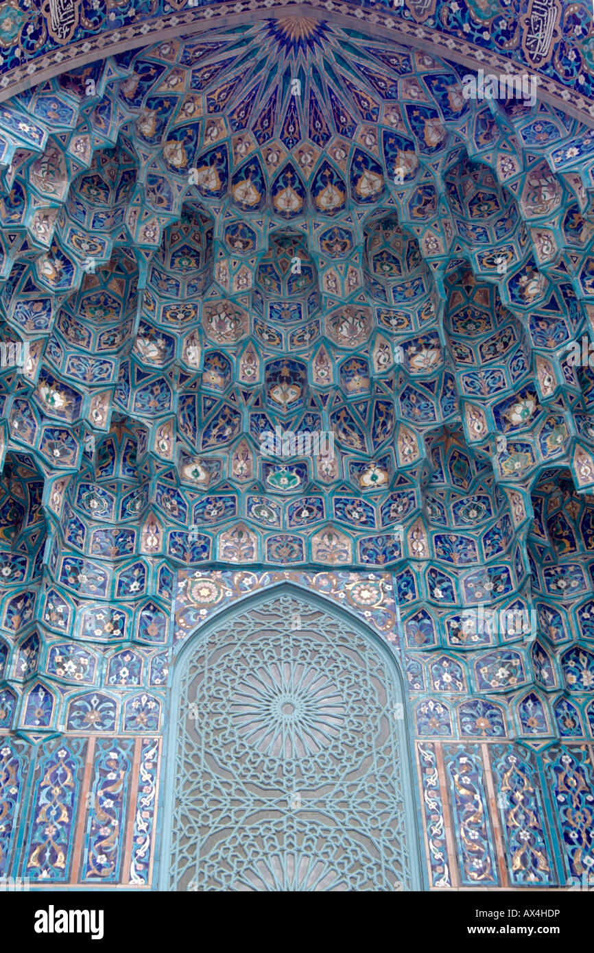 Light blue ancient mosaic on muslim mosque - Stock Image