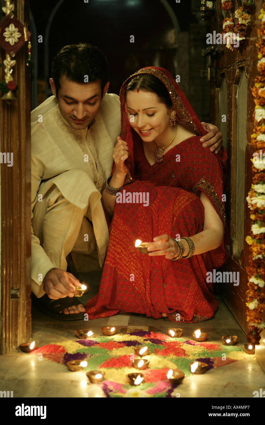 Couple Celebrating Diwali Stock Photo Alamy