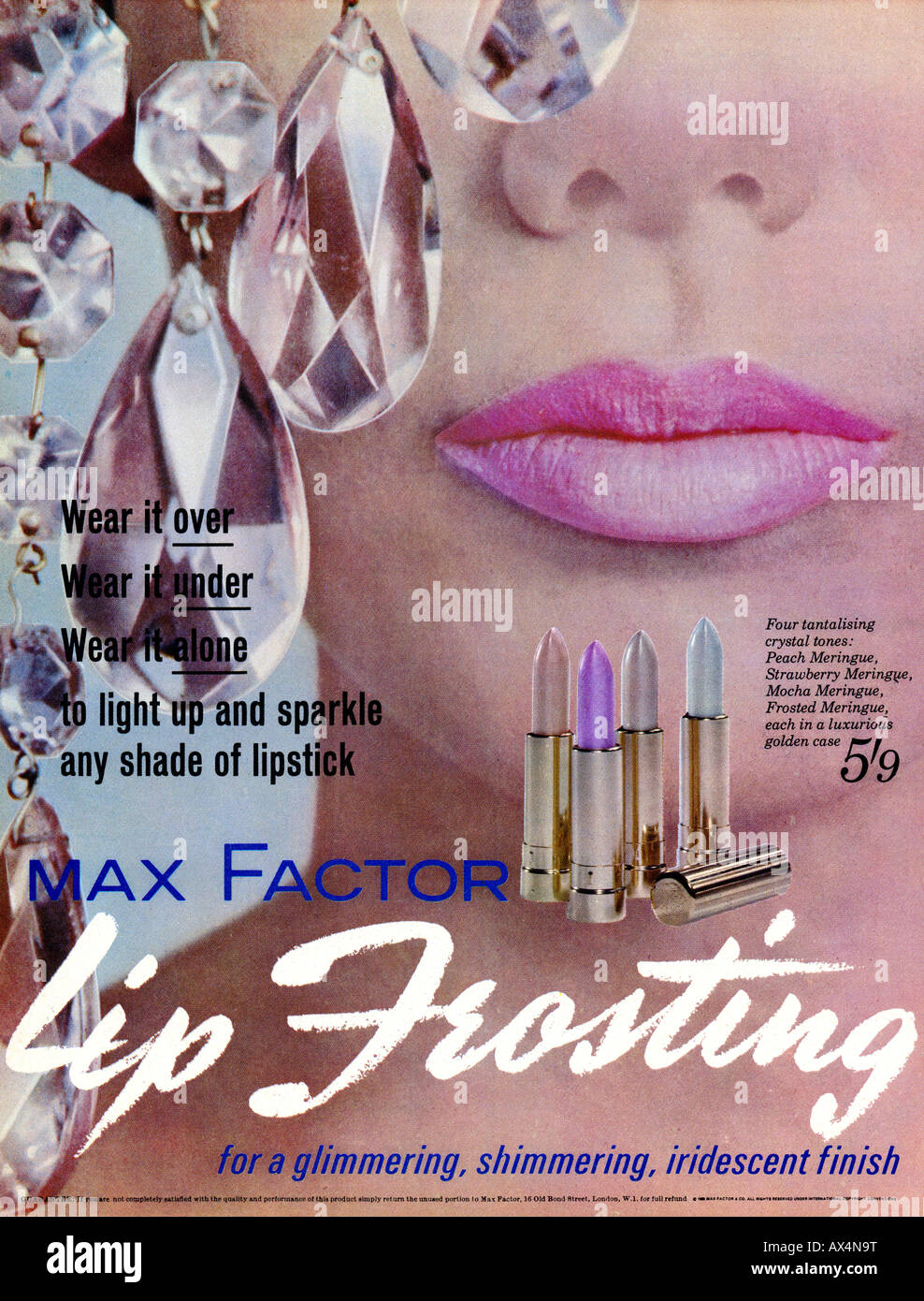 1960s Sixties advertisement for Lipfrosting Lipstick by Max Factor 1965  FOR EDITORIAL USE ONLY - Stock Image