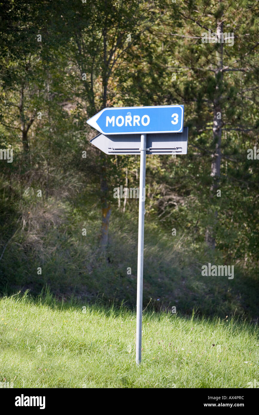 Play on words sign to Morrow Umbria Italy - Stock Image