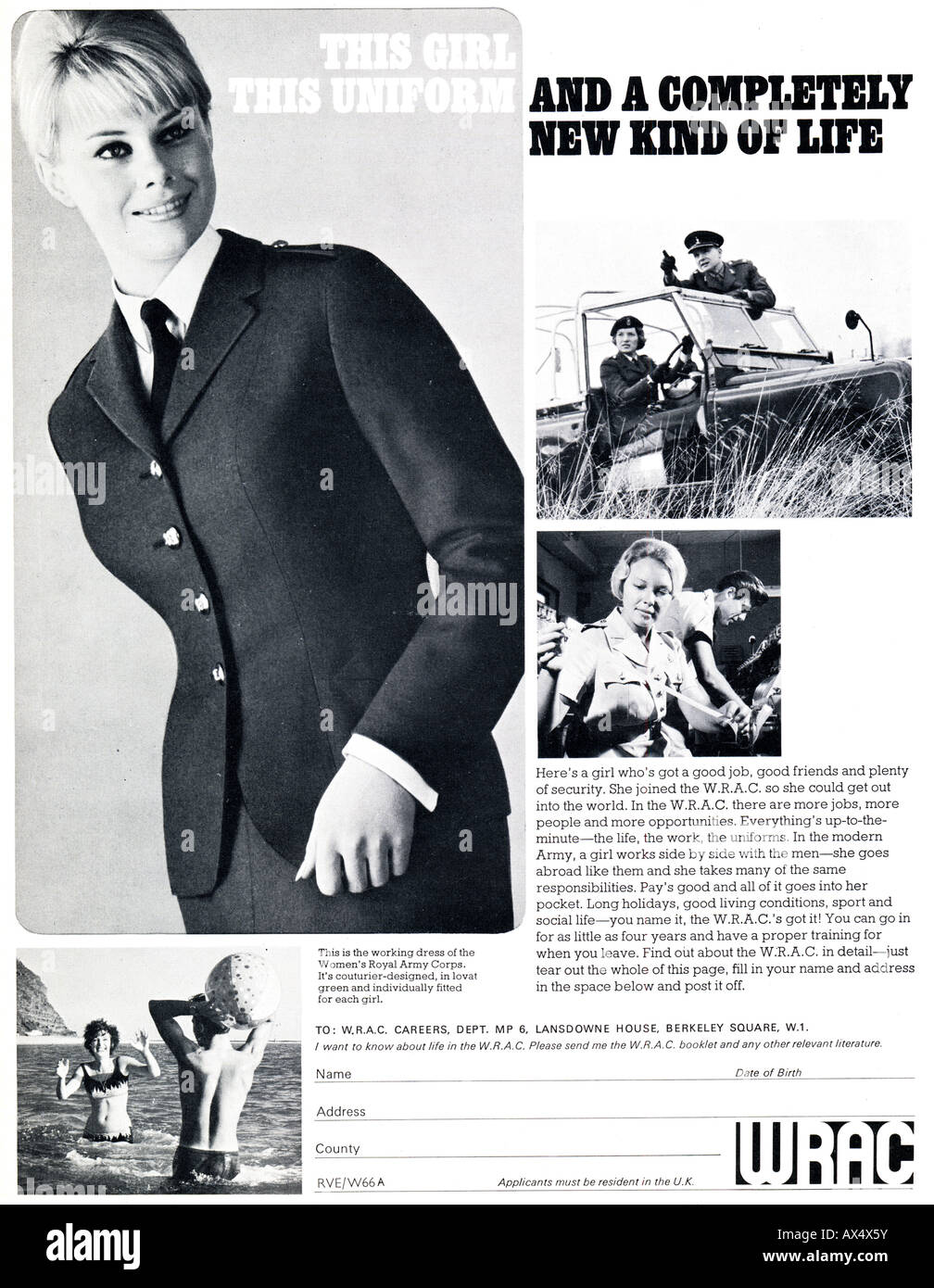 1960s Sixties advertisement for WRAC Women's Royal Army Corps 1965  FOR EDITORIAL USE ONLY - Stock Image
