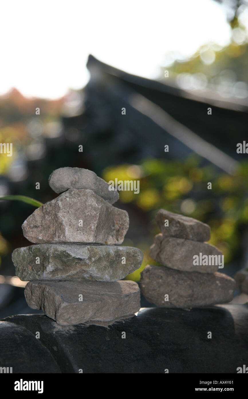 Stones piled into symbolic stacks at Bulguksa temple near Kyeongju in south east Korea Stock Photo