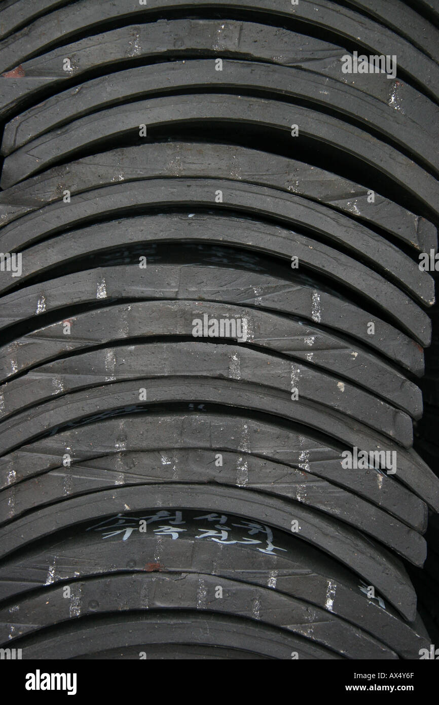 Stack of traditional Korean roof tiles Stock Photo