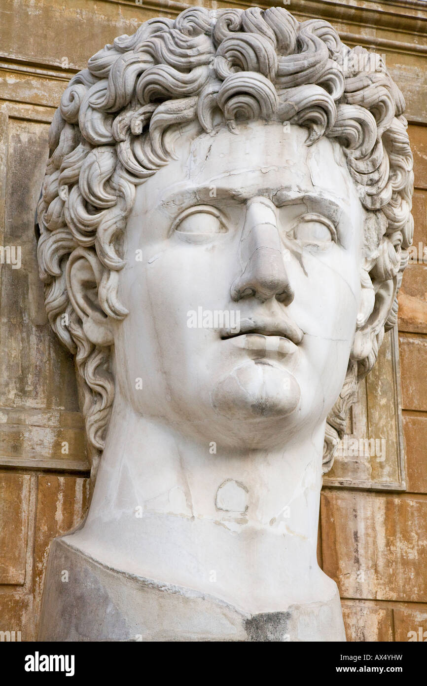 Giant bust of Antinous in the Vatican museum - Stock Image