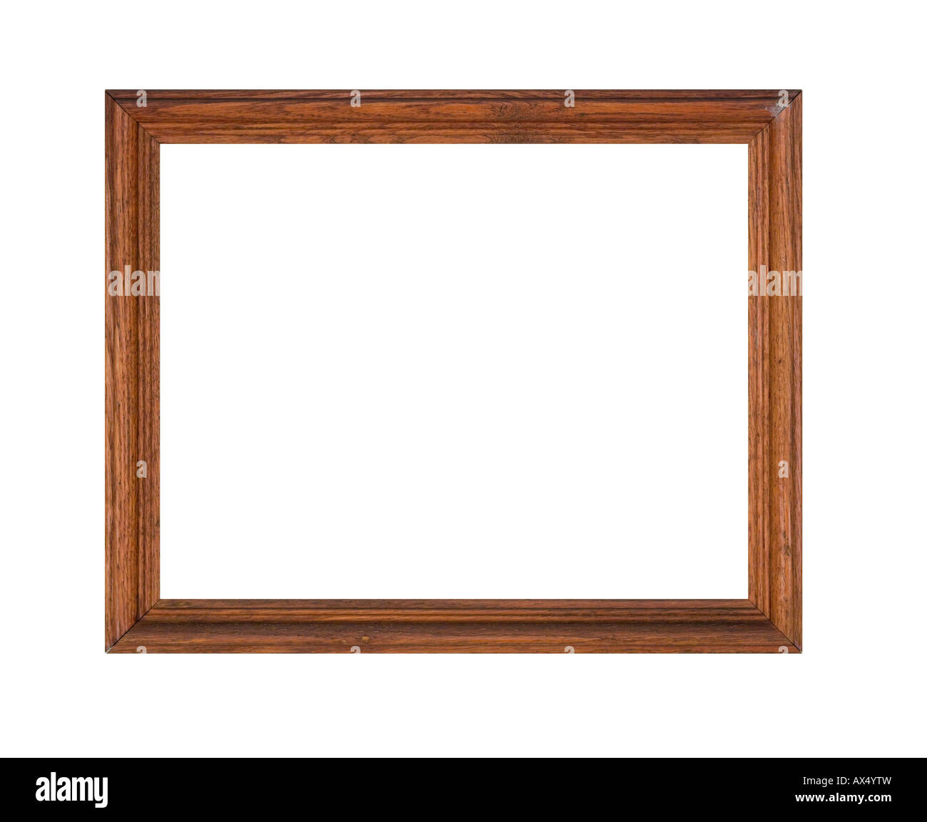 Picture frame of oak wood in rough distressed condition, a junk shop find isolated on white. - Stock Image