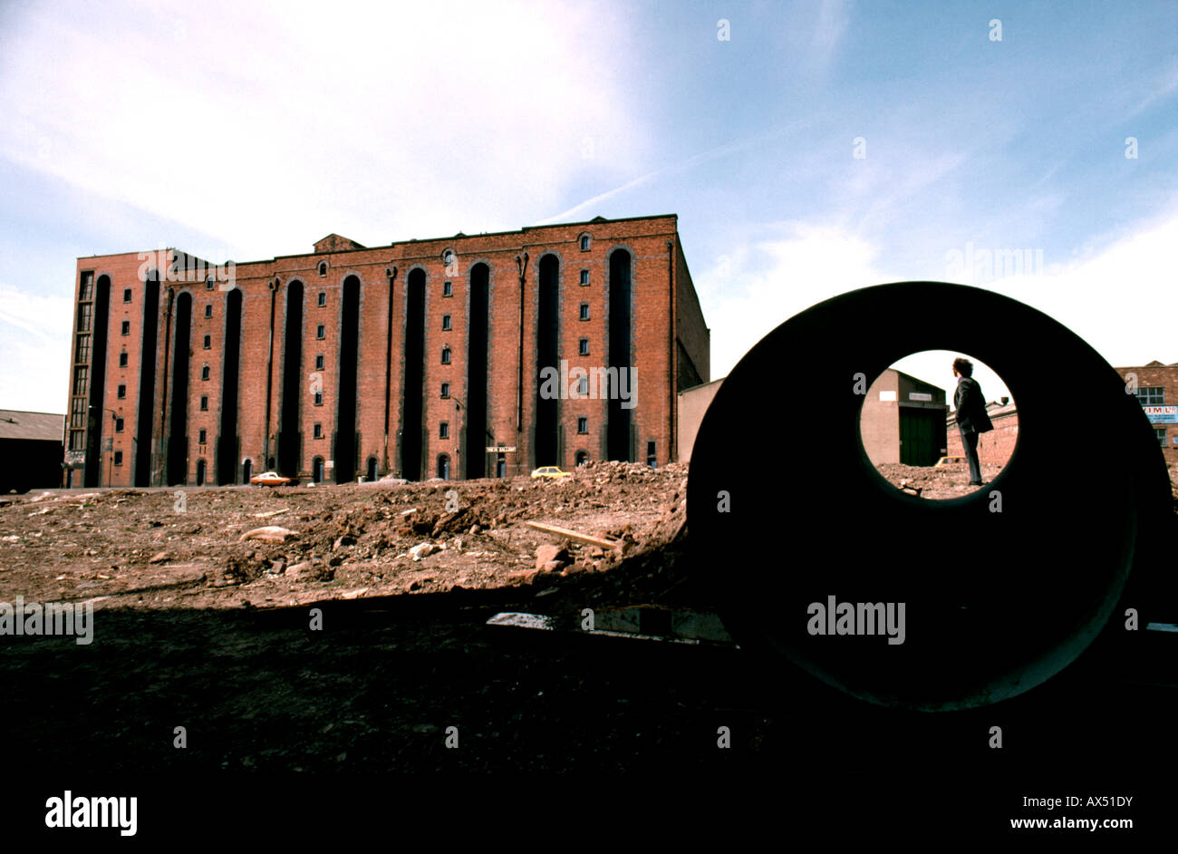 Liverpool docks building in 1980s before redevelopment - Stock Image
