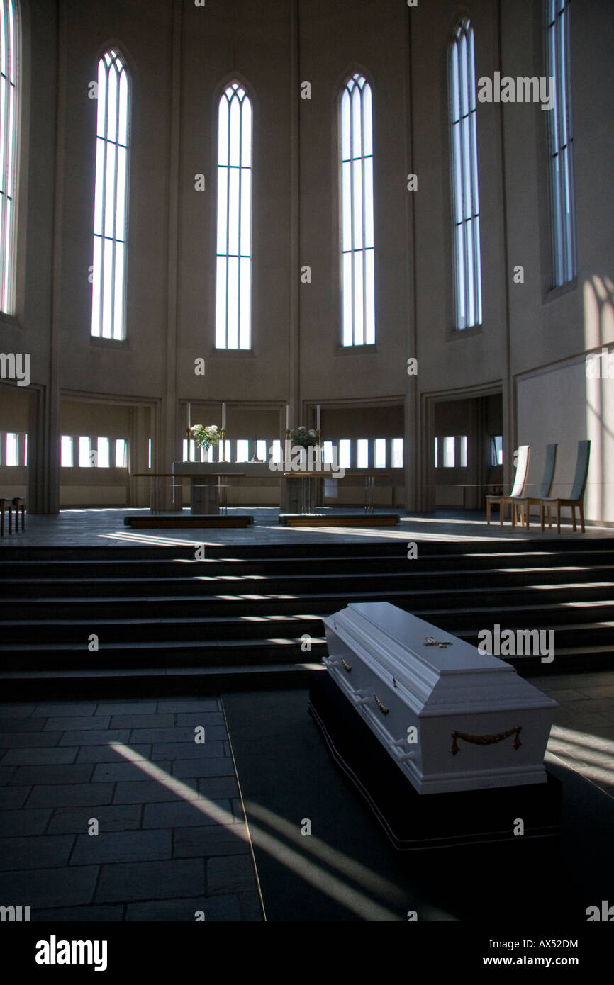 coffin in church - Stock Image