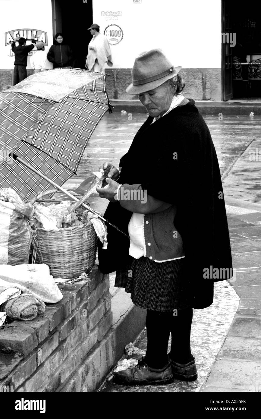 A street seller, an old woman selling typical and traditional food in the street, Soracá, Boyacá, Colombia, - Stock Image