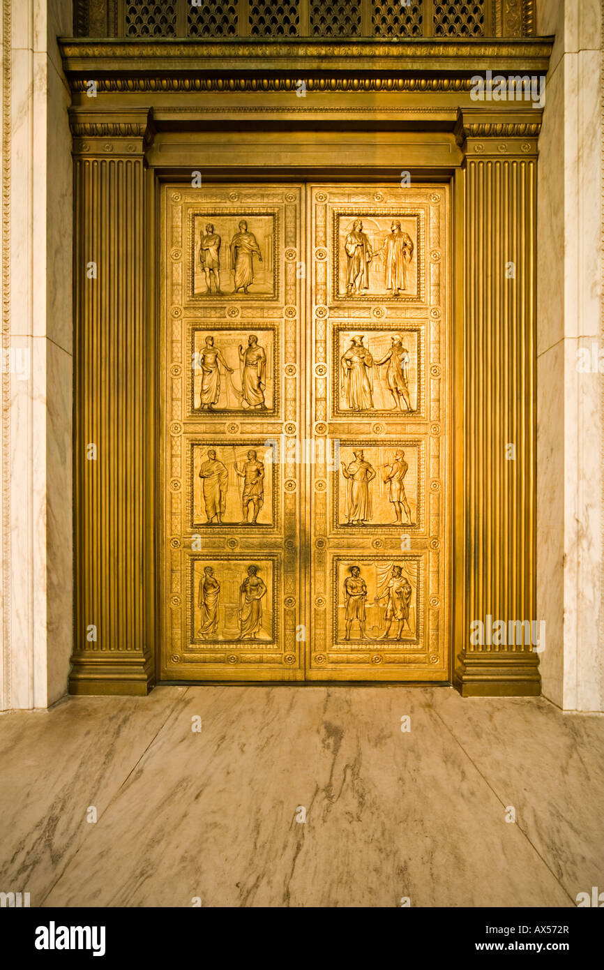 The Bronze Doors of the United States Supreme Court depicting major historic scenes of legal reform. Washington DC US U.S. & The Bronze Doors of the United States Supreme Court depicting major ...
