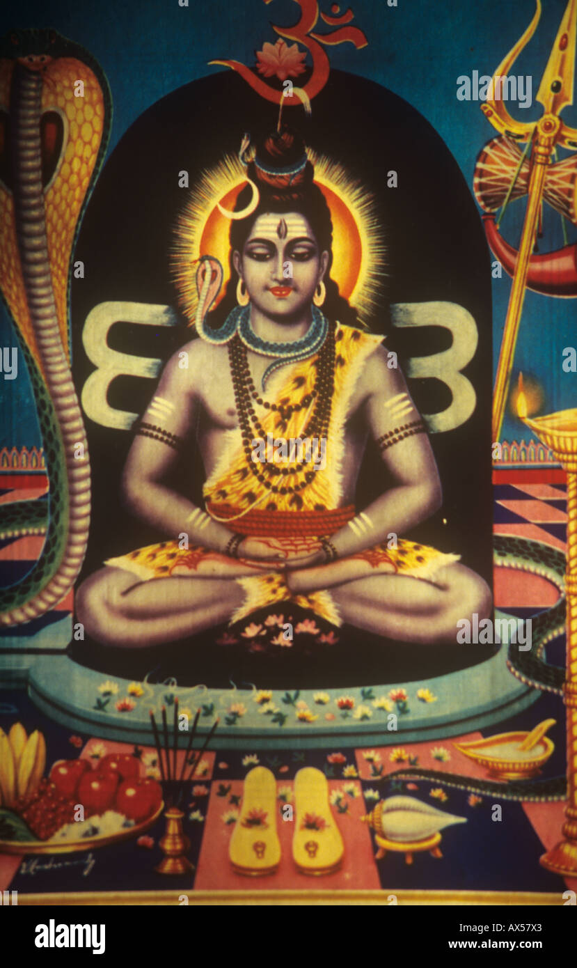 The Hindu god Lord Shiva seated in a meditative yoga position - Stock Image