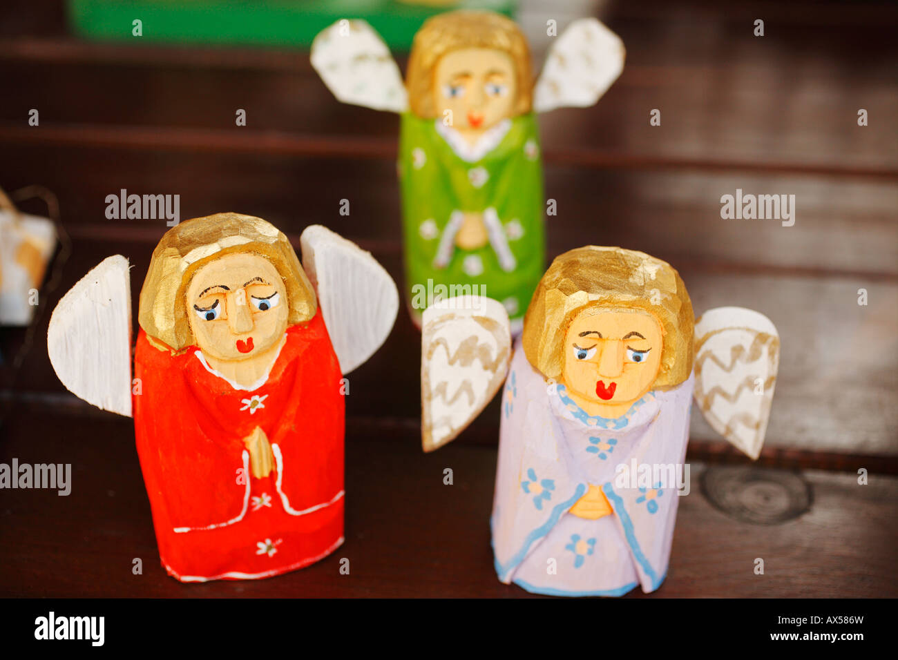 Wooden Angels Polish Souvenirs For Sale Poland Stock Photo