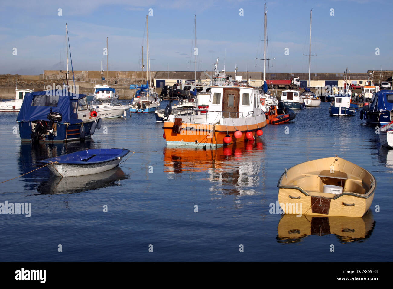 boats moored in Portrush harbour, County Antrim, Northern Ireland Stock Photo