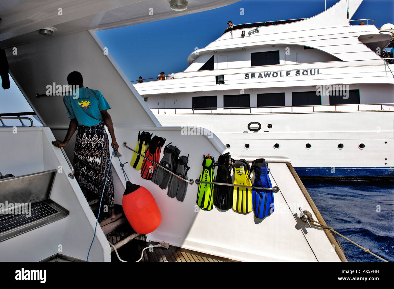 Tourist diving ship waiting for divers, Red sea, Egypt - Stock Image