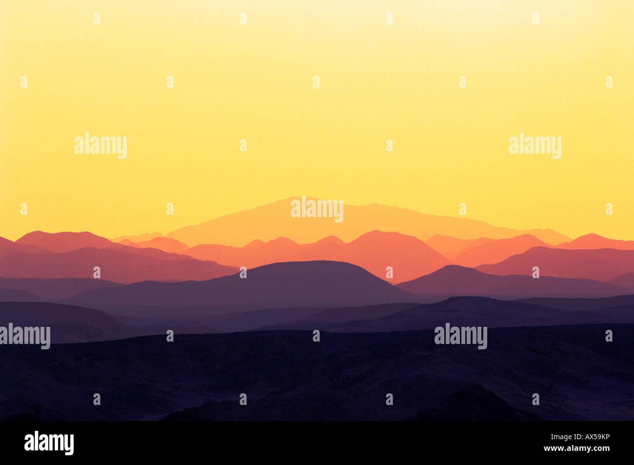 Sunset over mountains, coast Ghalib, Egypt Stock Photo