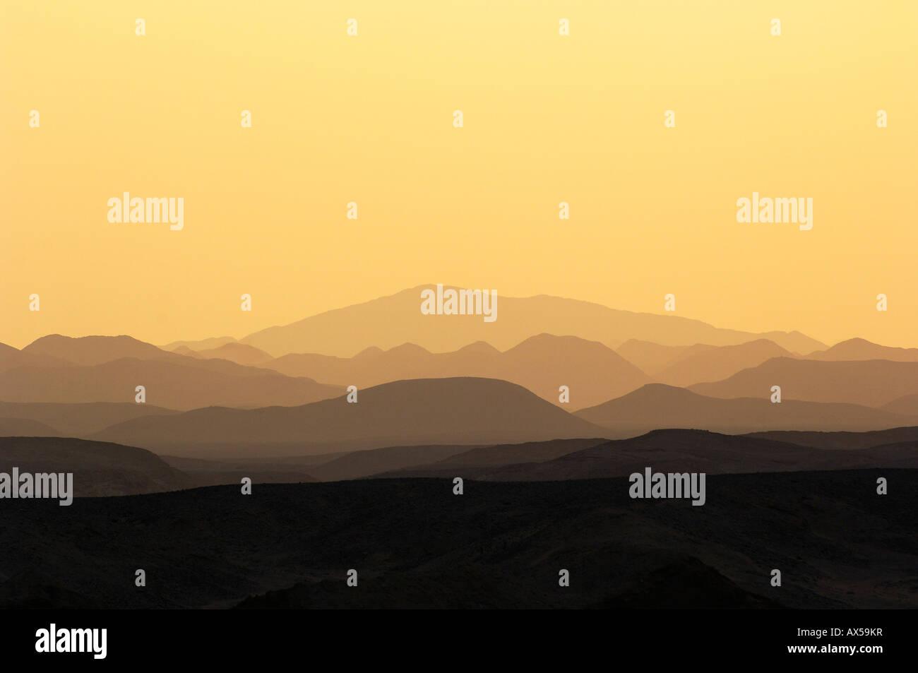 Sunset over mountains, coast Gahlib, Egypt Stock Photo