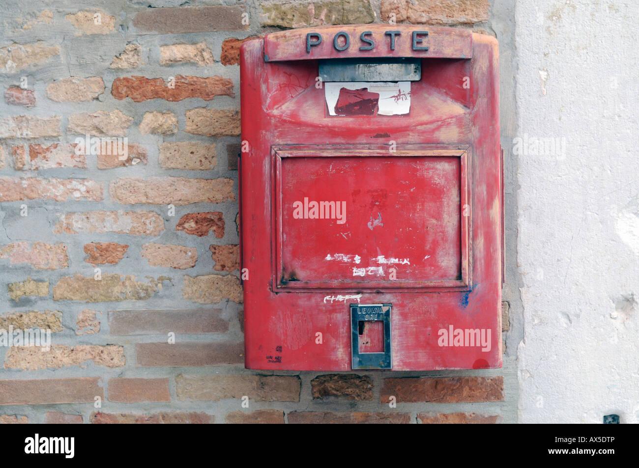 Mailbox, Burano Island, Venice, Veneto, Italy, Europe Stock Photo
