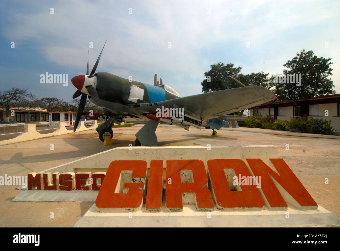 Military airplane in front of the Girón Museum, Bay of Pigs, Cuba, Caribbean - Stock Image