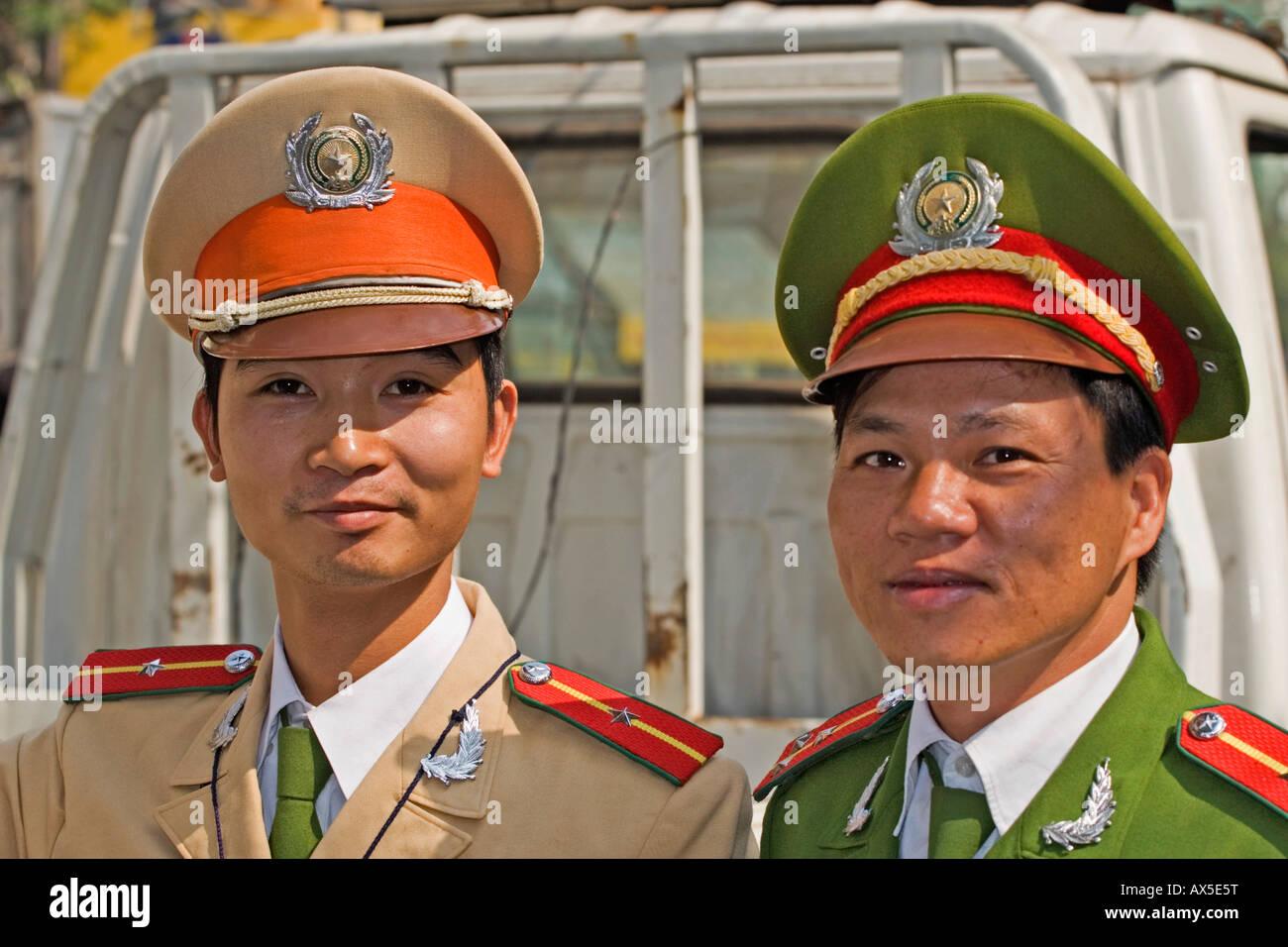 Two policemen in Hanoi, Vietnam - Stock Image