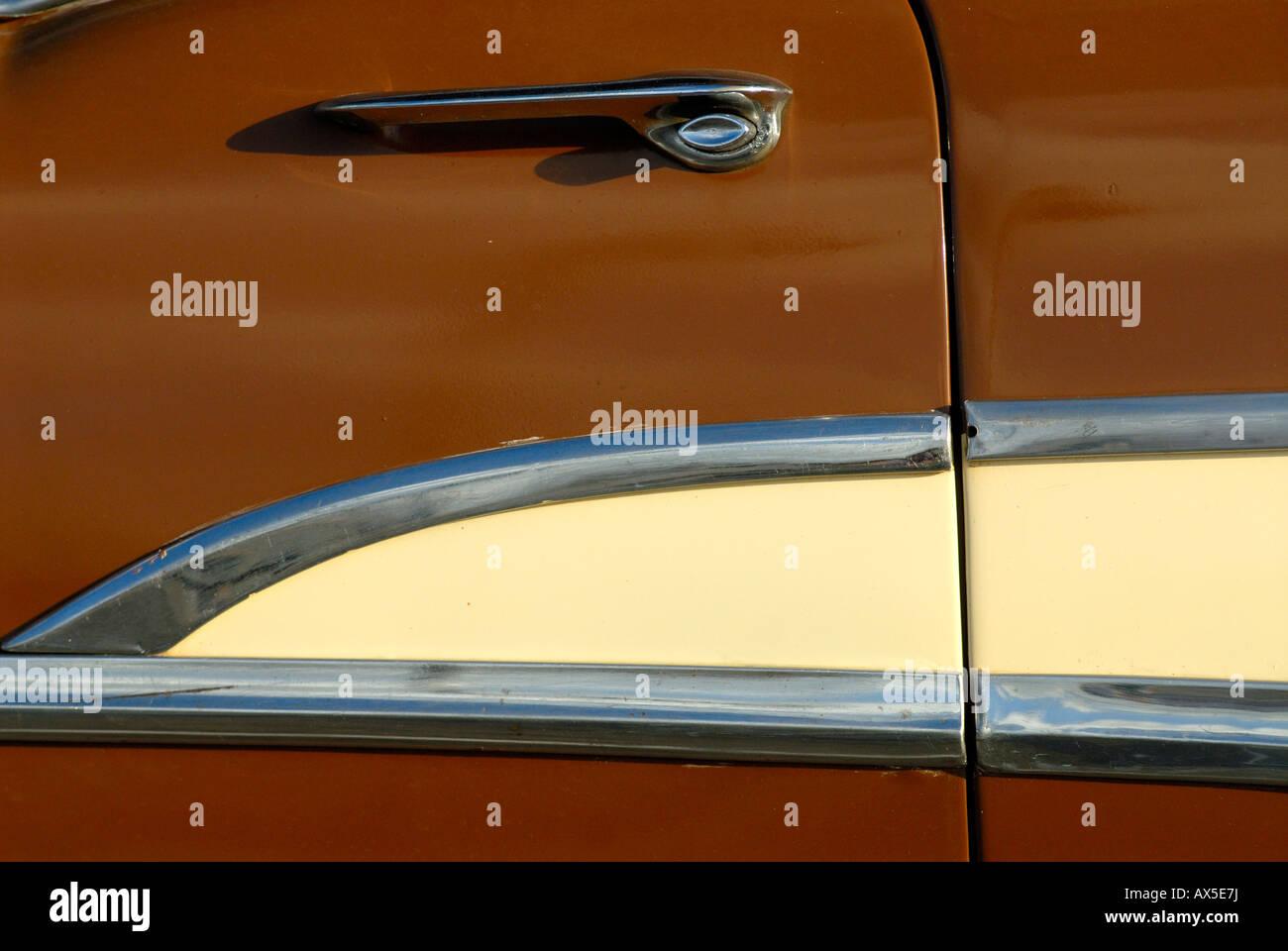 Door of a brown vintage car, Havana, Cuba - Stock Image