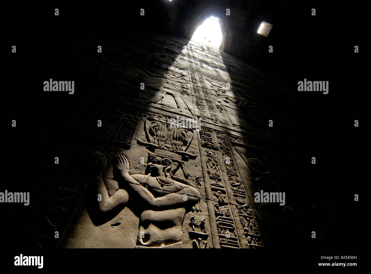 Interior with hieroglyphs, Karnak Temple, Luxor, Egypt, North Africa - Stock Image