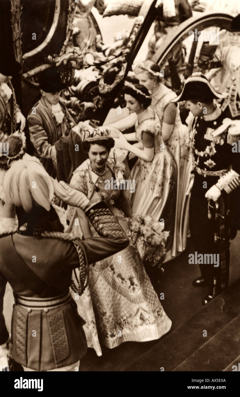 ELIZABETH II  arriving for her Coronation at Westminster Abbey, London, in 1953 - Stock Image