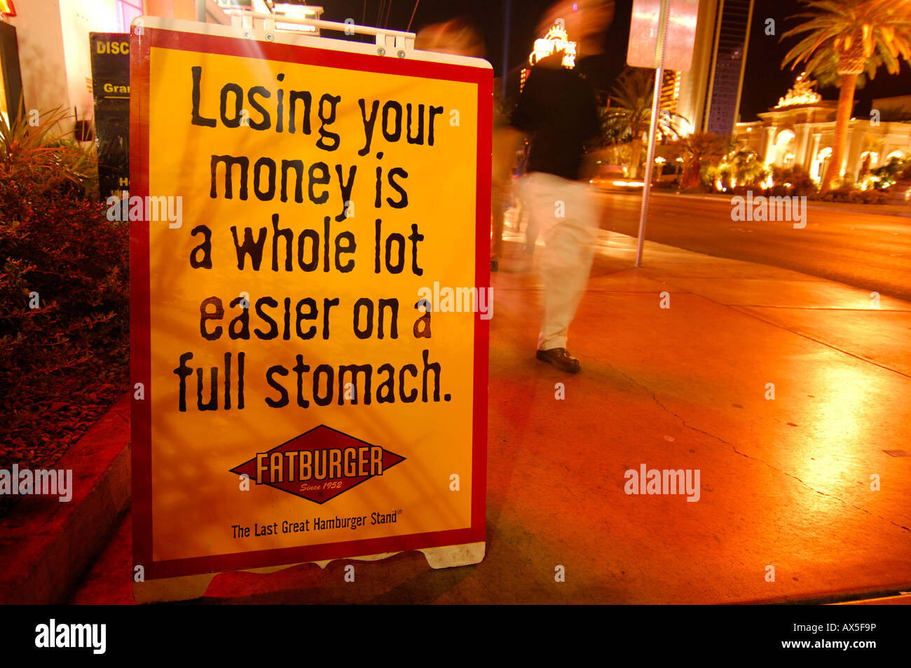 Advertising outside the Fatburger restaurant on Las Vegas Boulevard, Las Vegas, Nevada, USA, North America - Stock Image