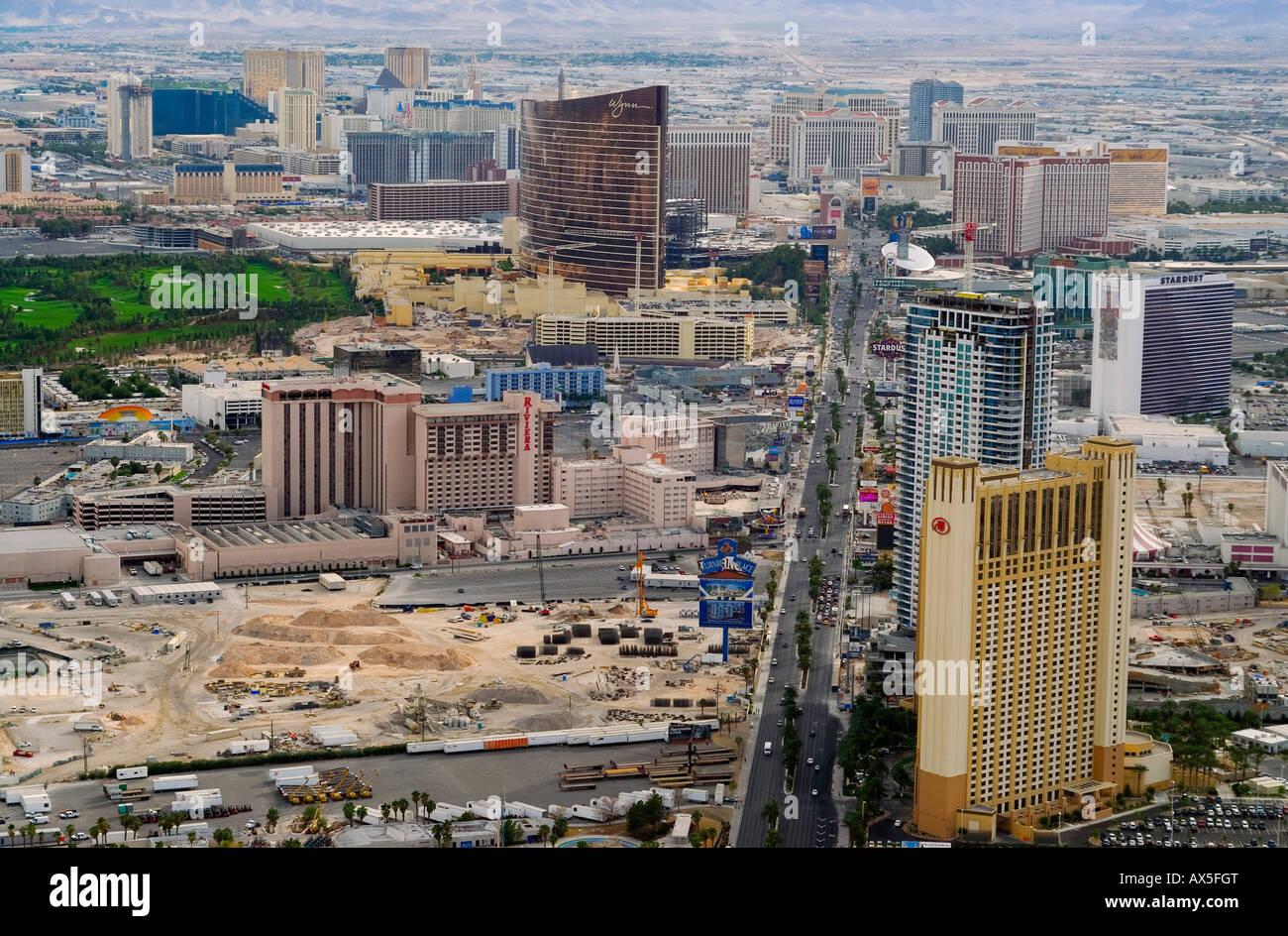 Construction sites along the strip viewed from Stratosphere Tower, Las Vegas Boulevard, Las Vegas, Nevada, USA, - Stock Image