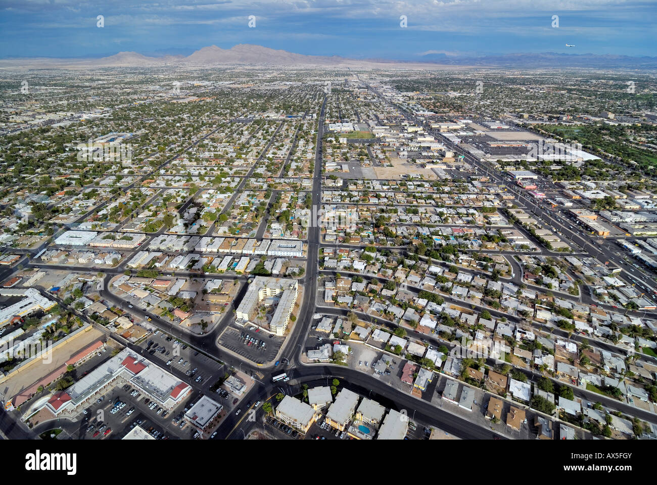 Residential area viewed from Stratosphere Tower, Las Vegas Boulevard, Las Vegas, Nevada, USA, North America - Stock Image