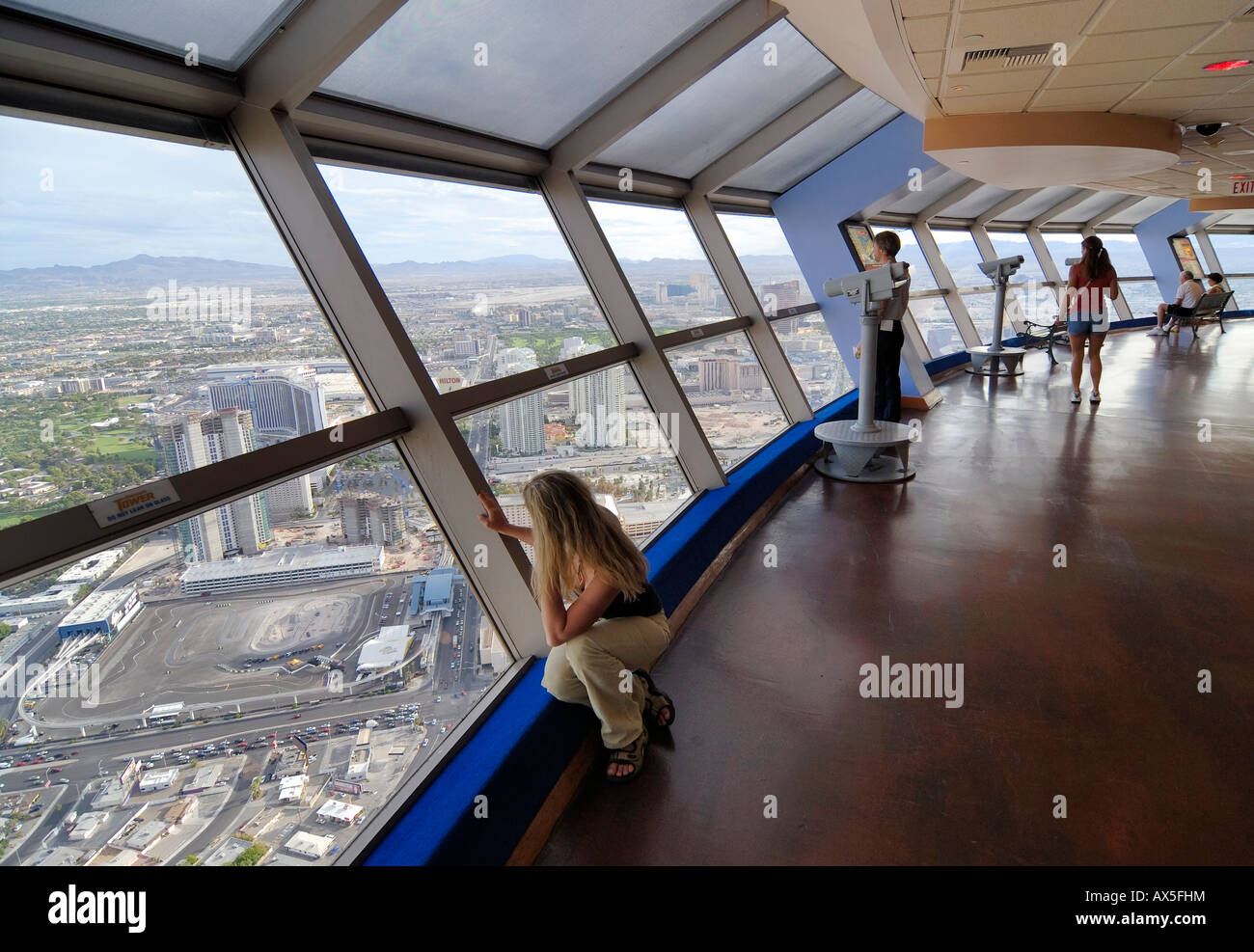 Tourists enjoying the view from Stratosphere Tower, Las Vegas Boulevard, Las Vegas, Nevada, USA, North America - Stock Image