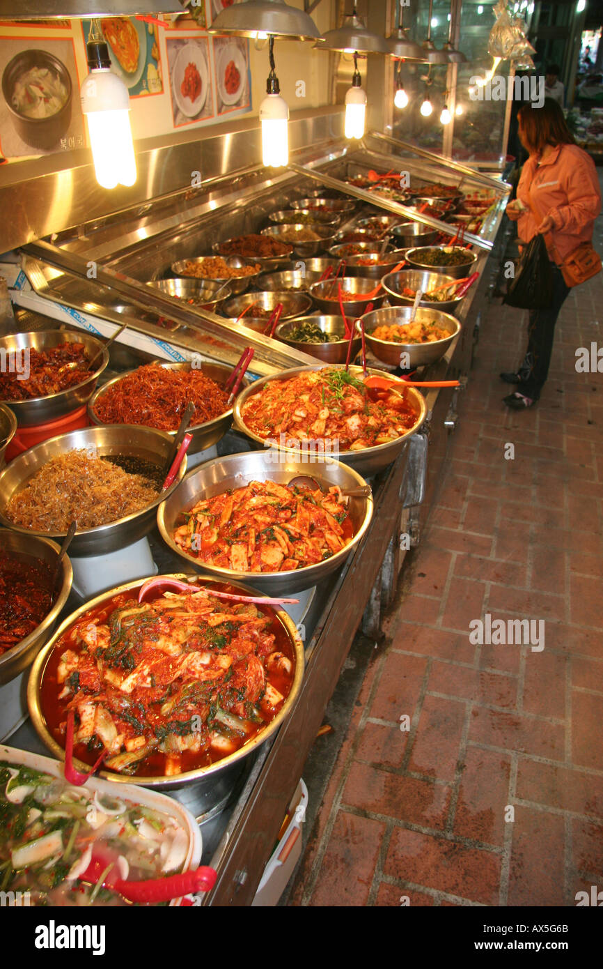 Kimchi spicy pickled cannage for sale at a market in Kyeongju, Korea Stock Photo