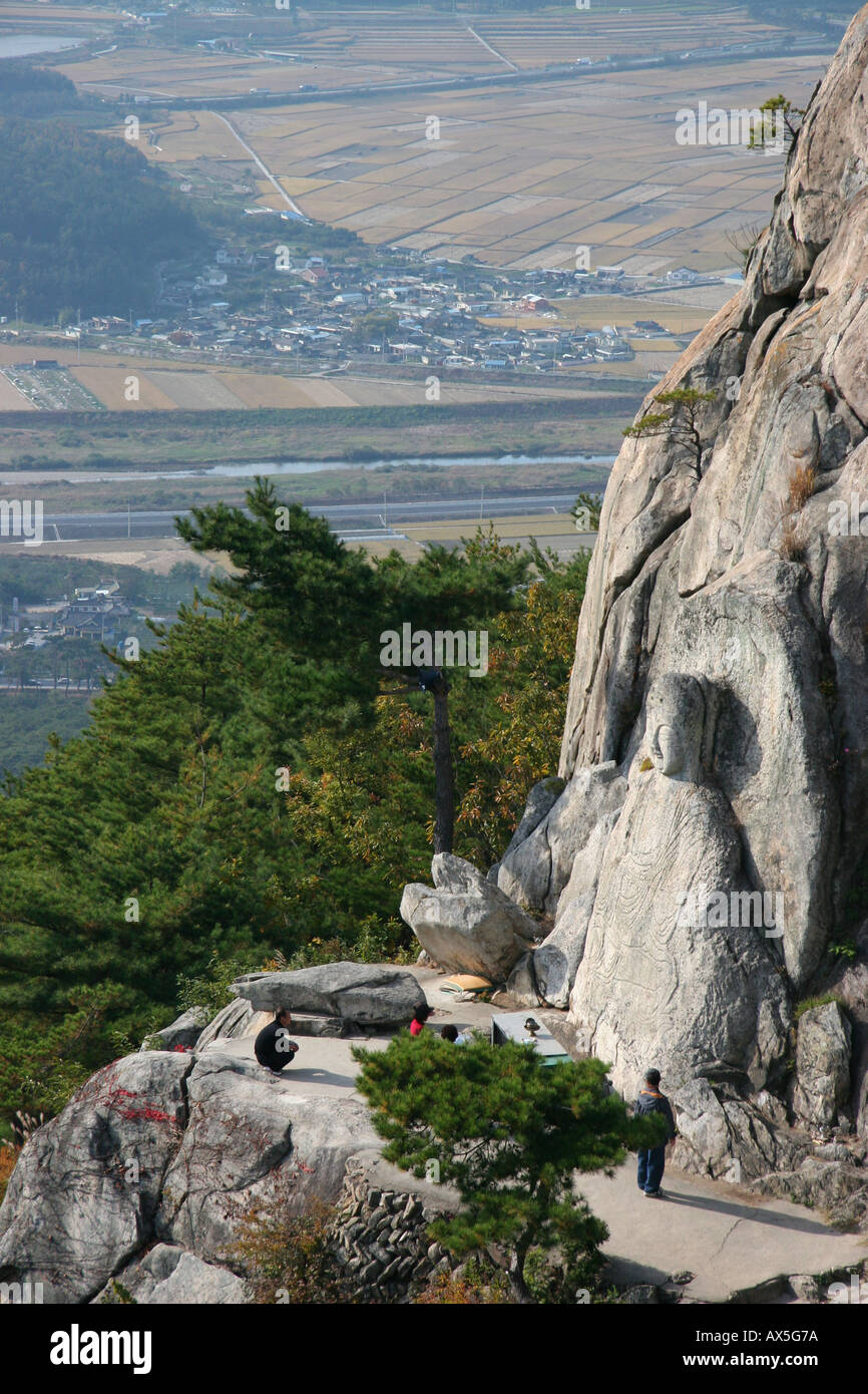 Buddha figure carved into a mountain in the Namsan area near Kyeongju in south east Stock Photo