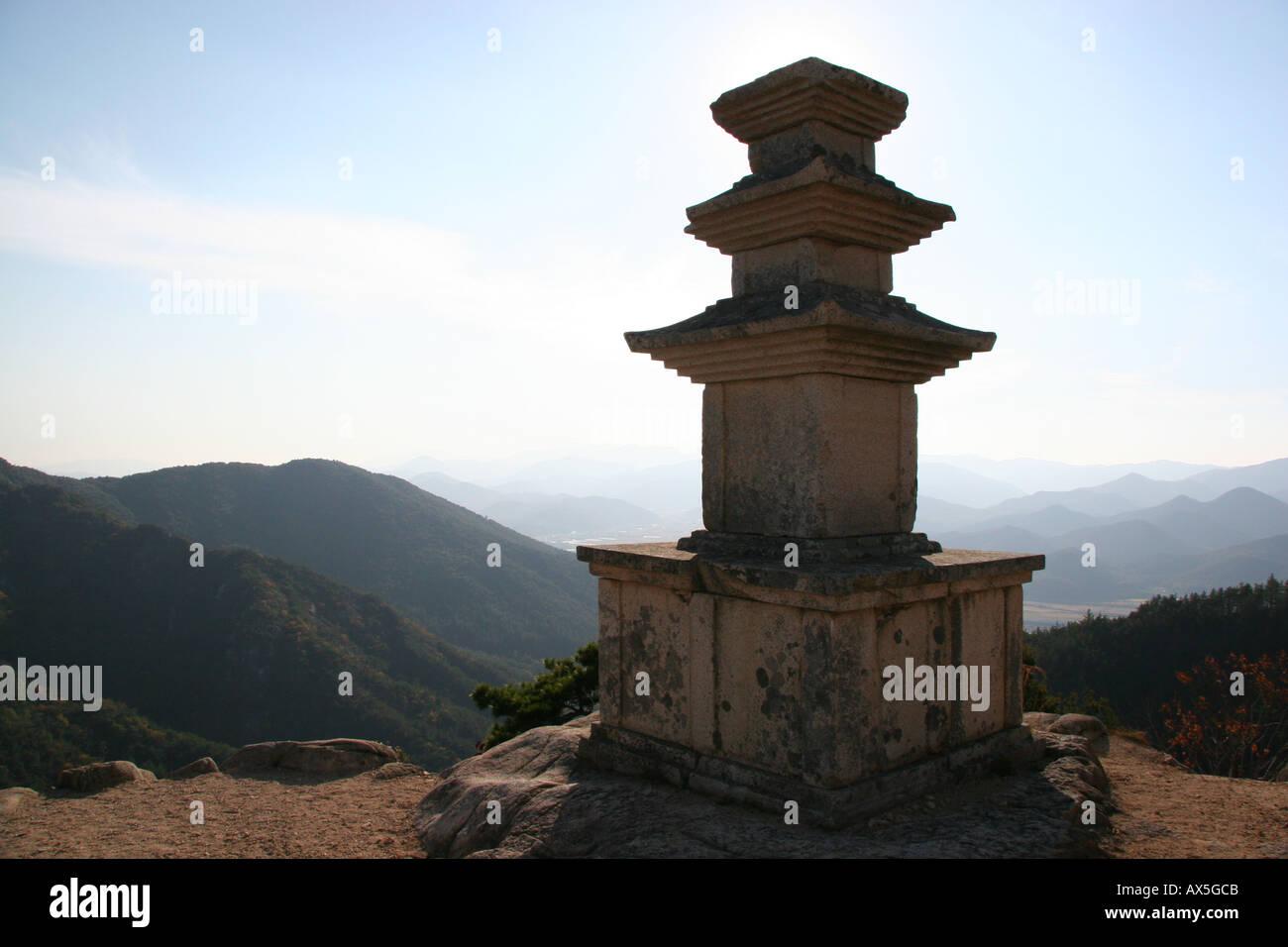 Three-story pagoda in the mountain area of Namsan near Kyeongju in south east Korea Stock Photo