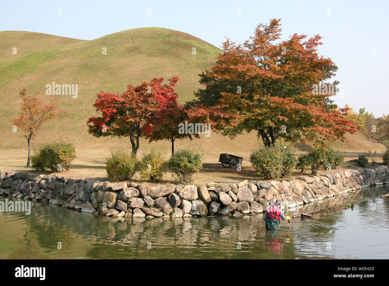 Silla burial mound in Kyeongju, South Korea Stock Photo