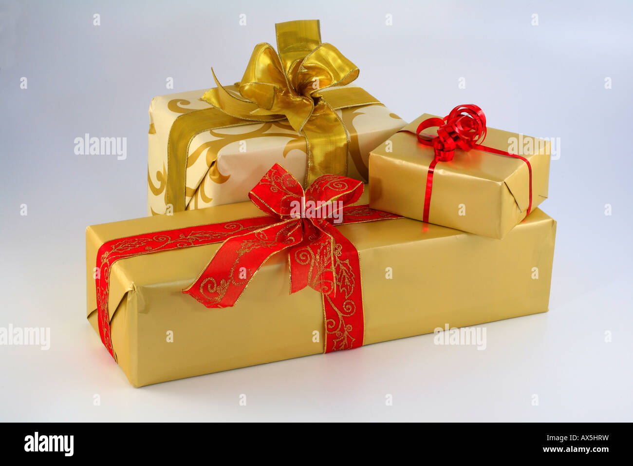 Wrapped christmas presents - Stock Image