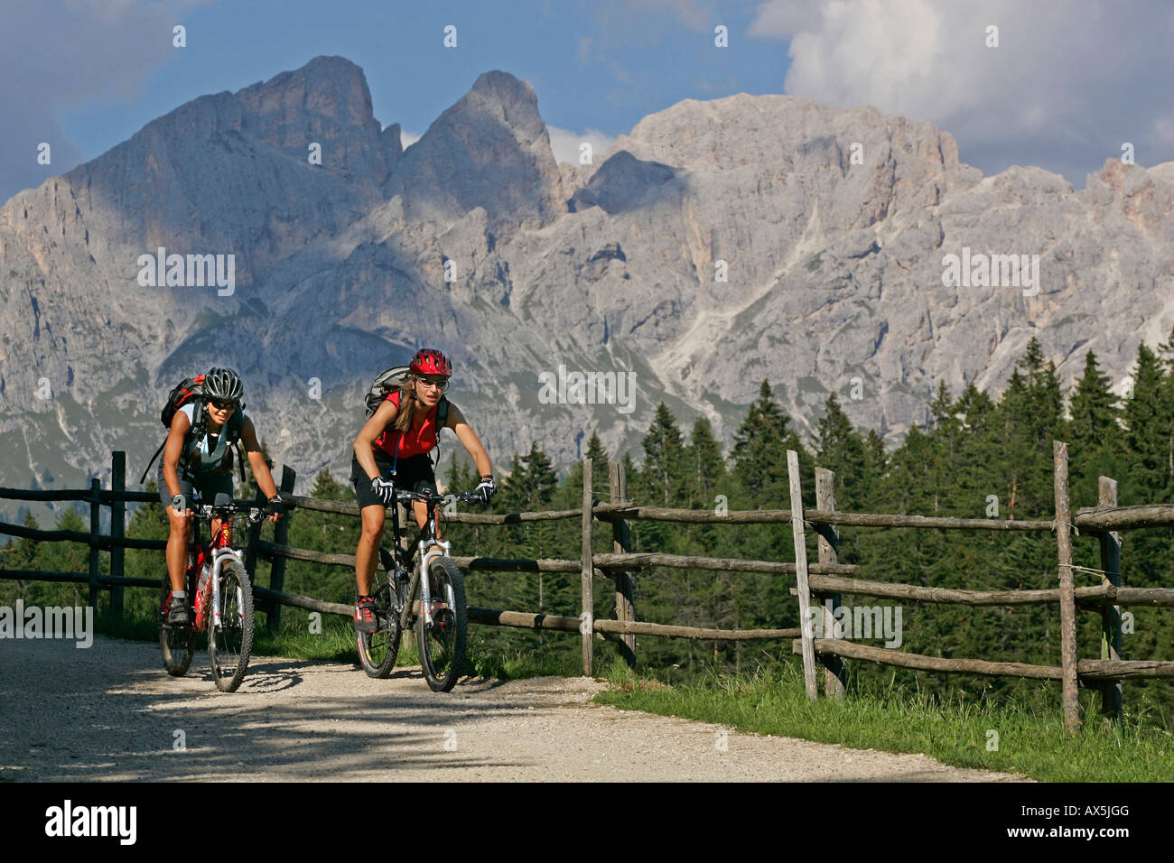 Female mountain bikers at Schiller Hof, Mt. Rosengarten in the background, Dolomites, Northern Italy, Europe - Stock Image