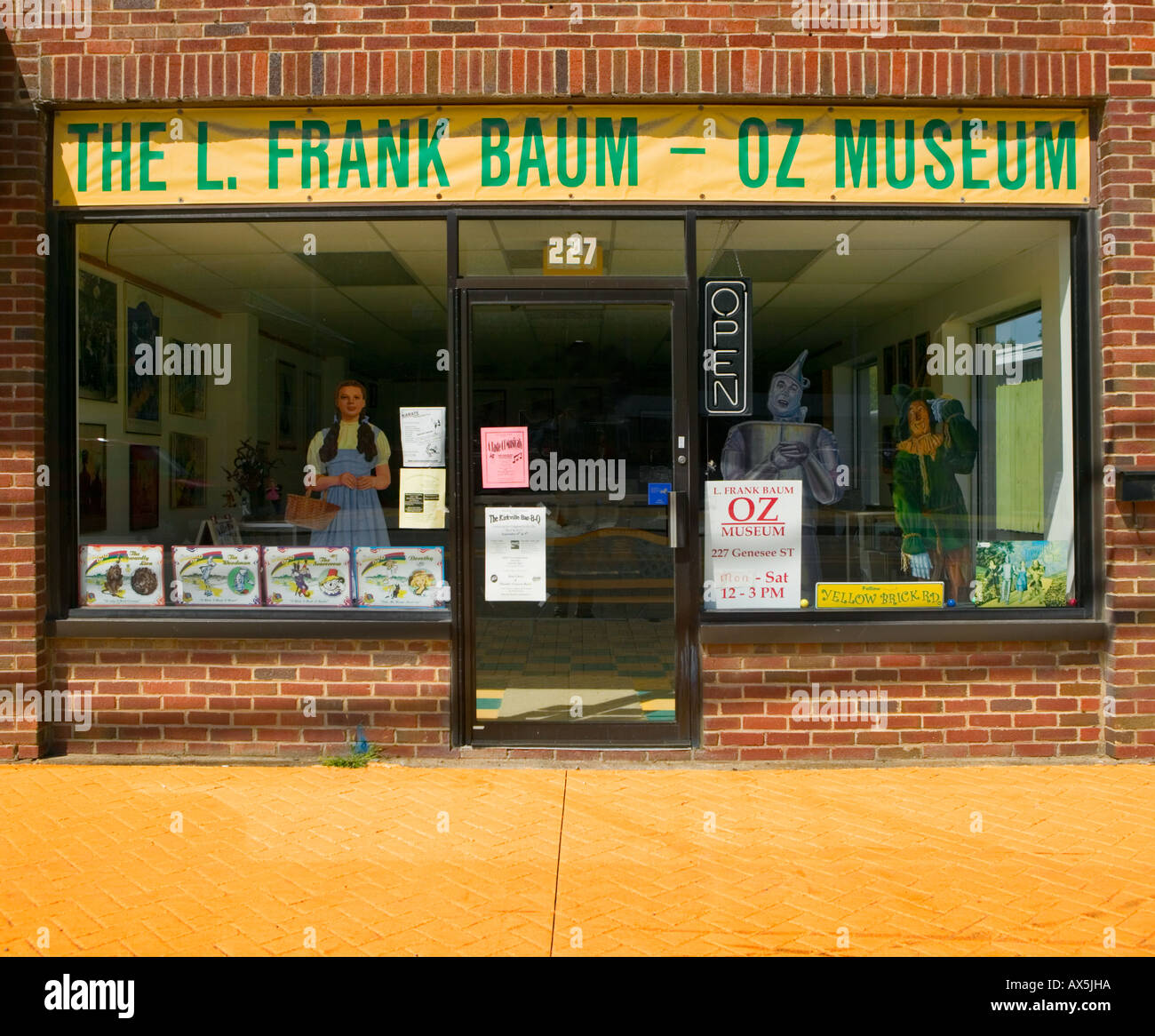 Oz Museum Chenango Falls New York with yellow brick sidewalk home of Wizard of Oz author L Frank Baum - Stock Image