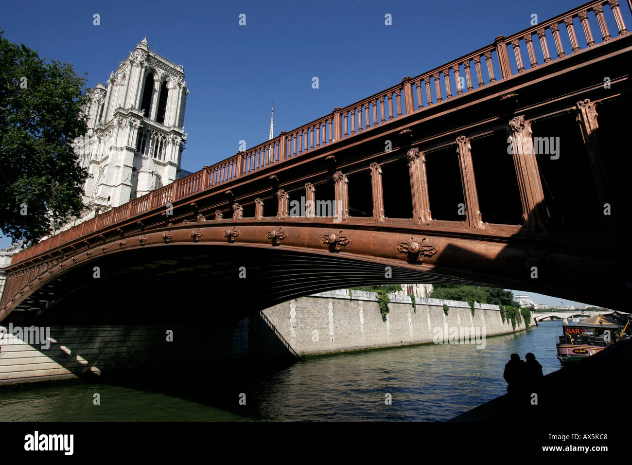 Bridge Pont au Double over Seine River with Notre Dame cathedral in the background Paris, France - Stock Image