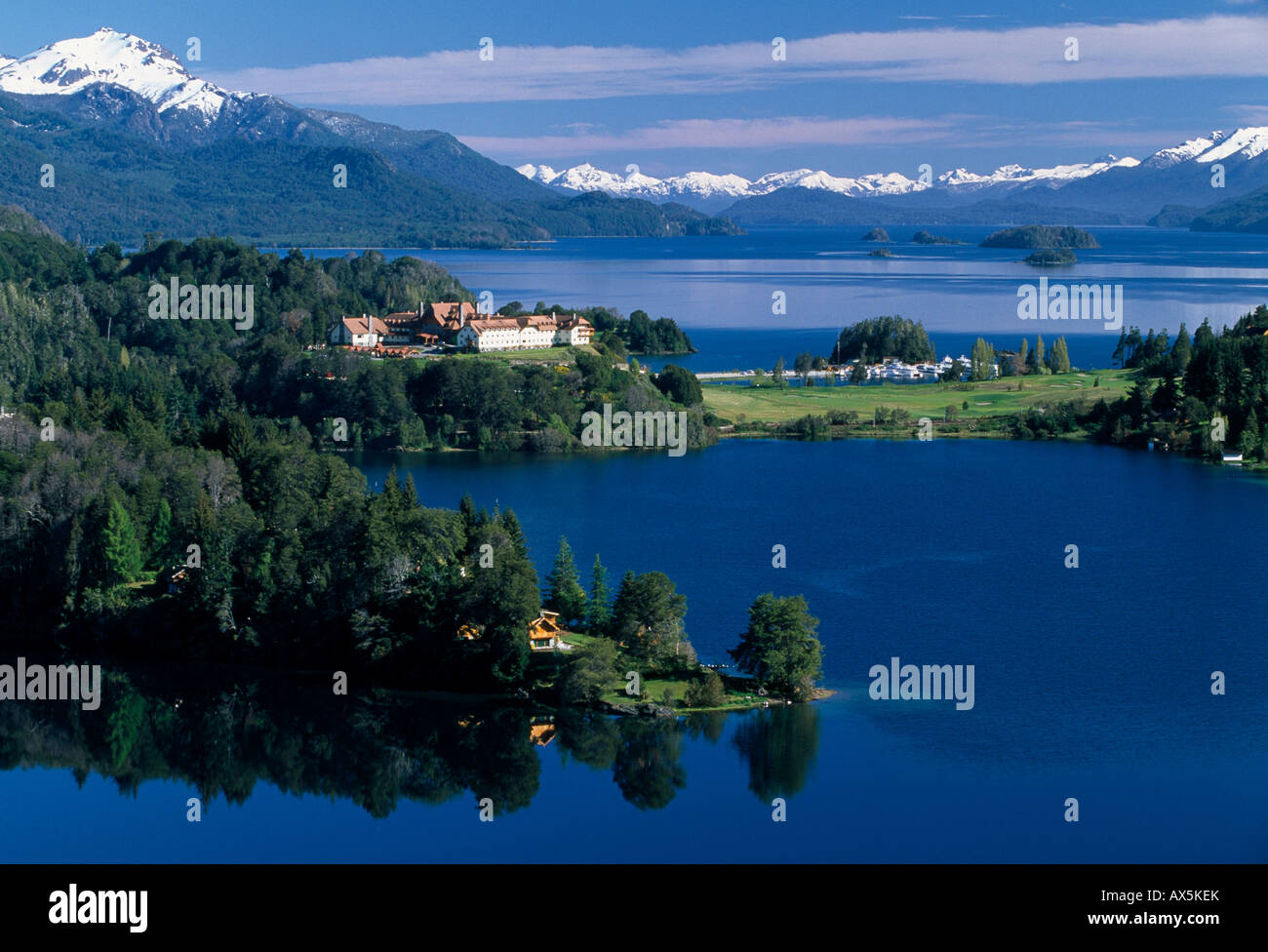 Lago Nahuel Huapi (Lake Nahuel Huapi) and the Llao-Llao Hotel, Lake District, Patagonia, Rio Negro Province, Argentina, - Stock Image