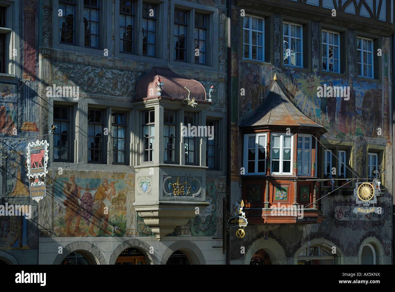 Historic building facades and bay windows in Stein am Rhein, Schaffhausen Canton, Switzerland, Europe - Stock Image