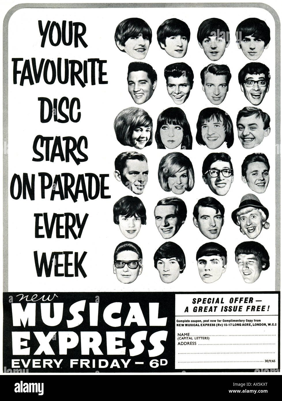 1960s Sixties advertisement for NME New Musical Express magazine  1965  FOR EDITORIAL USE ONLY - Stock Image