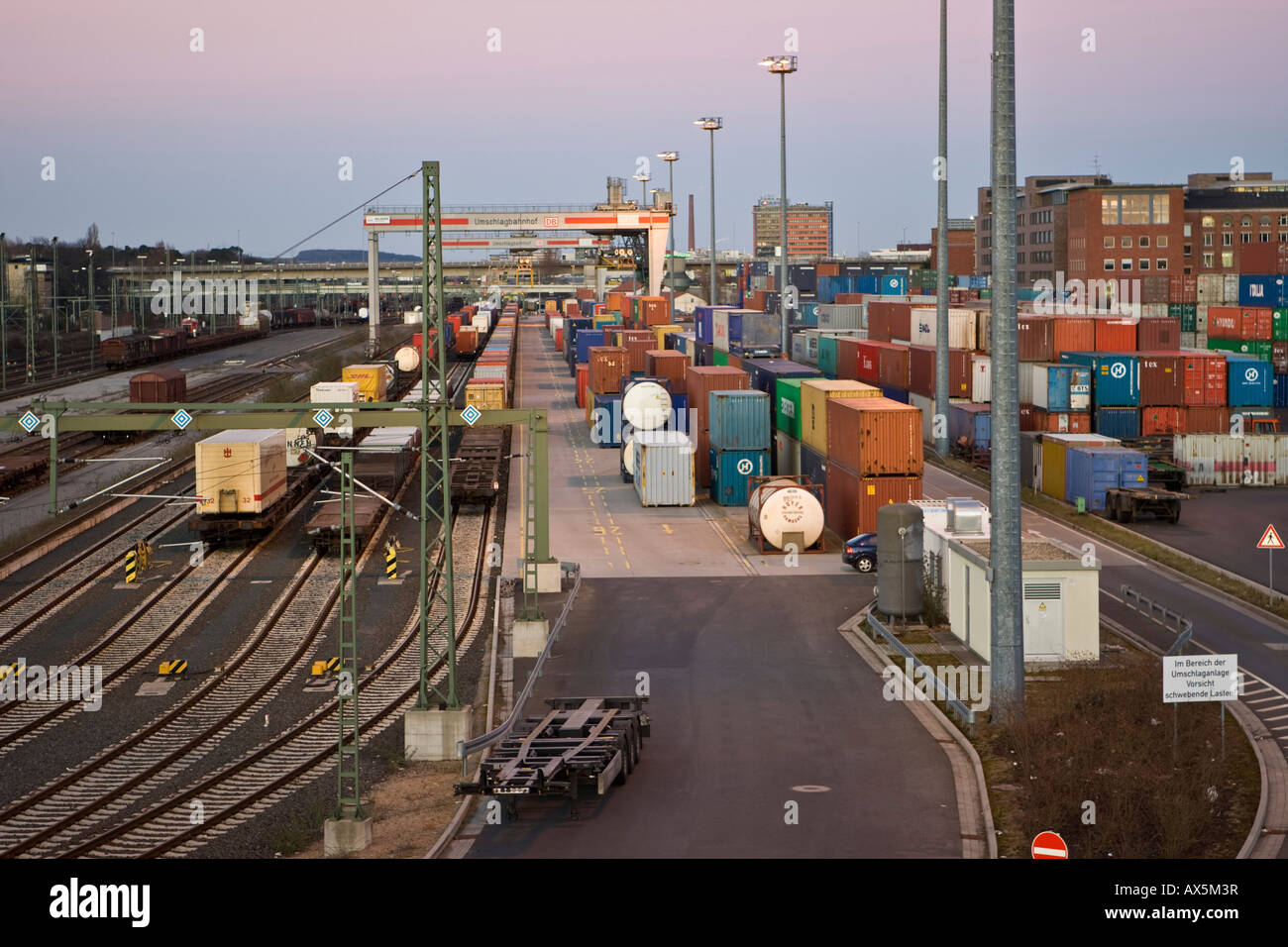 Shipping containers and loading crane at the transshipment railway station in Frankfurt-West, Frankfurt, Hesse, Stock Photo