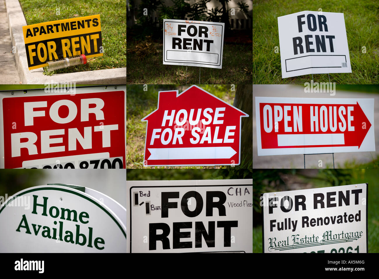 9 Signs House For Sale Or Rent Us Usa Stock Photo 16737351 Alamy